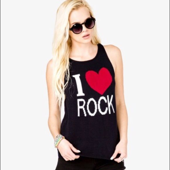 Forever 21 I ❤️ Rock Tank Top Knit I ❤️ Rock tank top from forever 21. Forever 21 Tops Tank Tops