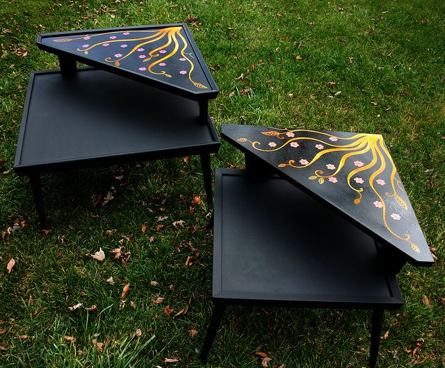 Retro Tables Makeover 2 for $50 deco, painted, nightstand ...