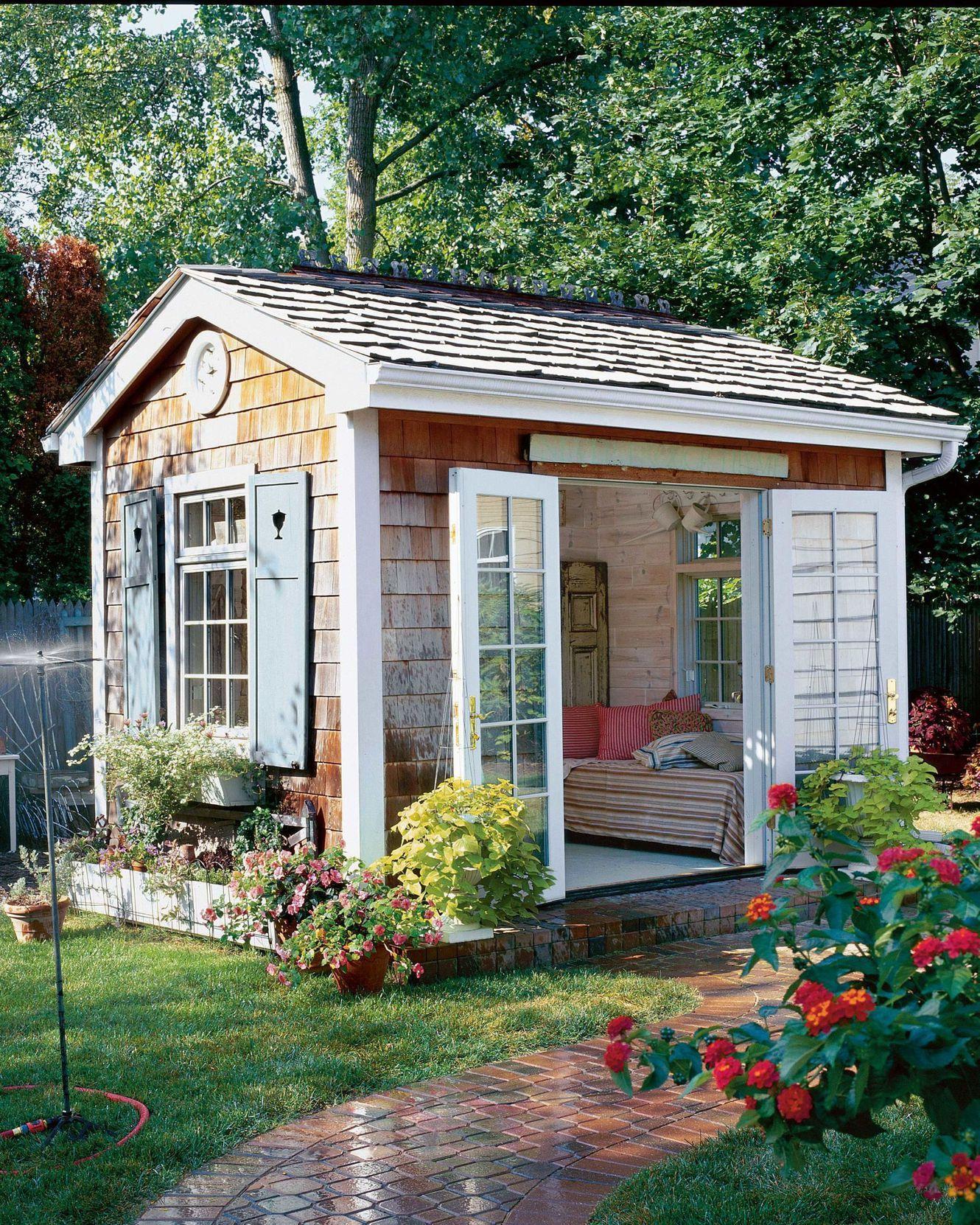 The Ultimate Guide To Building Your Own She Shed Backyard Sheds Backyard Getaway Shed Decor