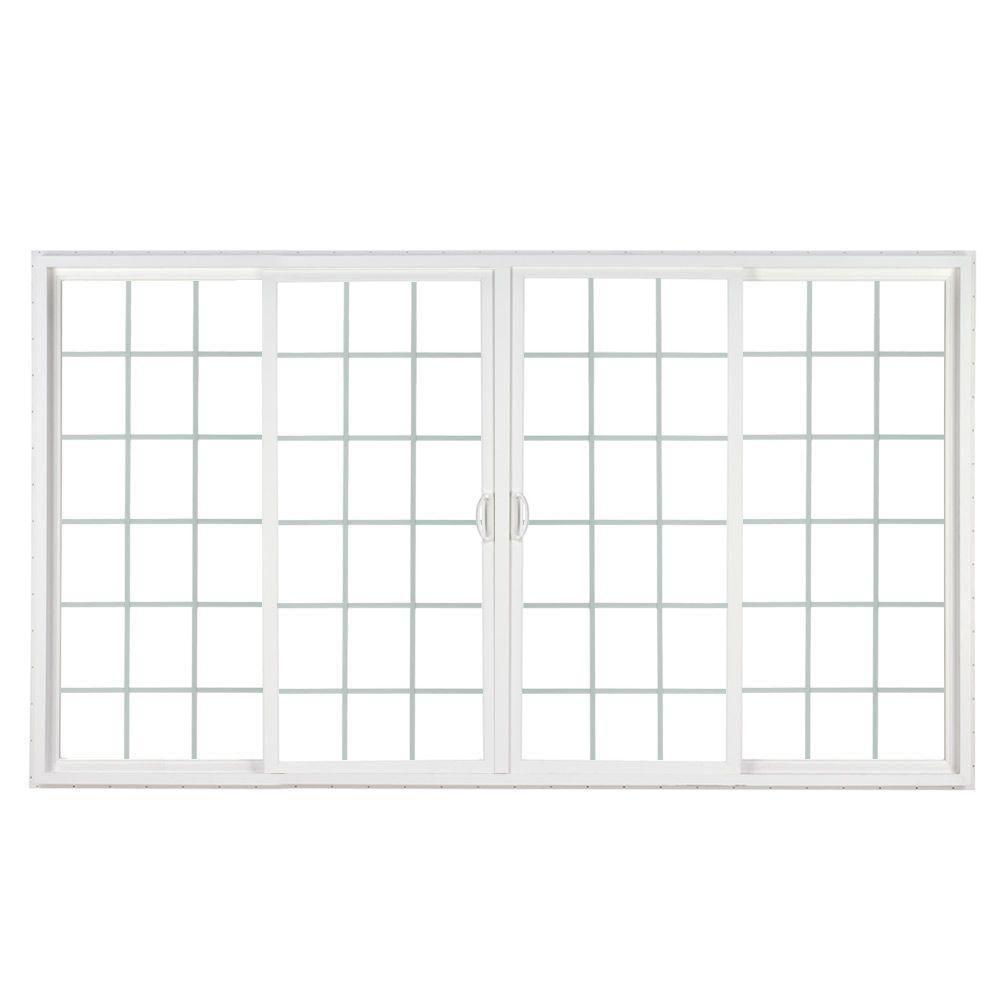 Simonton 144 In X 80 In 4 Panel Contemporary Vinyl Sliding Patio Door W Prosolar Low E Glass Grids Vinyl Sliding Patio Door Sliding Patio Doors Patio Doors