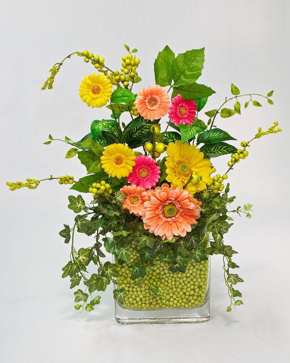 Spring Artificial Flower Arrangement Bright And Cheery Gerbera