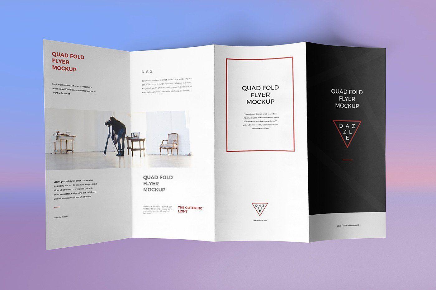 Quad Fold Flyer Mockups Brochure Psd Brochure Mockup Free Brochure Design Template