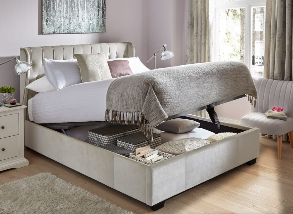 Sana Fabric Upholstered Ottoman Bed Frame Ottoman