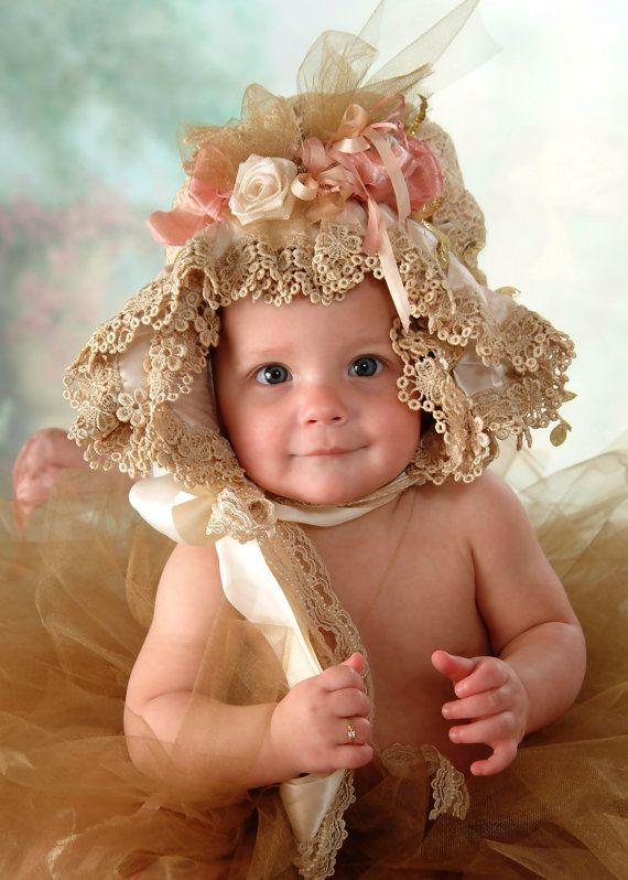 e1eb4407e Victorian Shabby Baby Bonnet