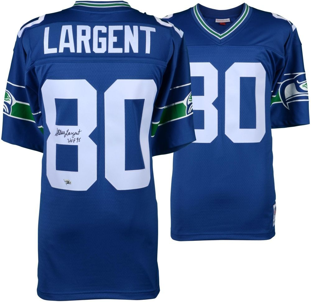 Steve Largent Seattle Seahawks Signed Mitchell   Ness Replica Jersey   HOF  Insc 5145c2464