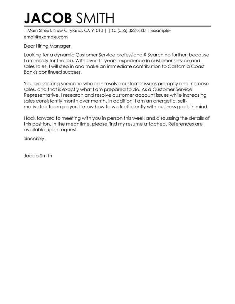 23 Customer Service Representative Cover Letter  Cover
