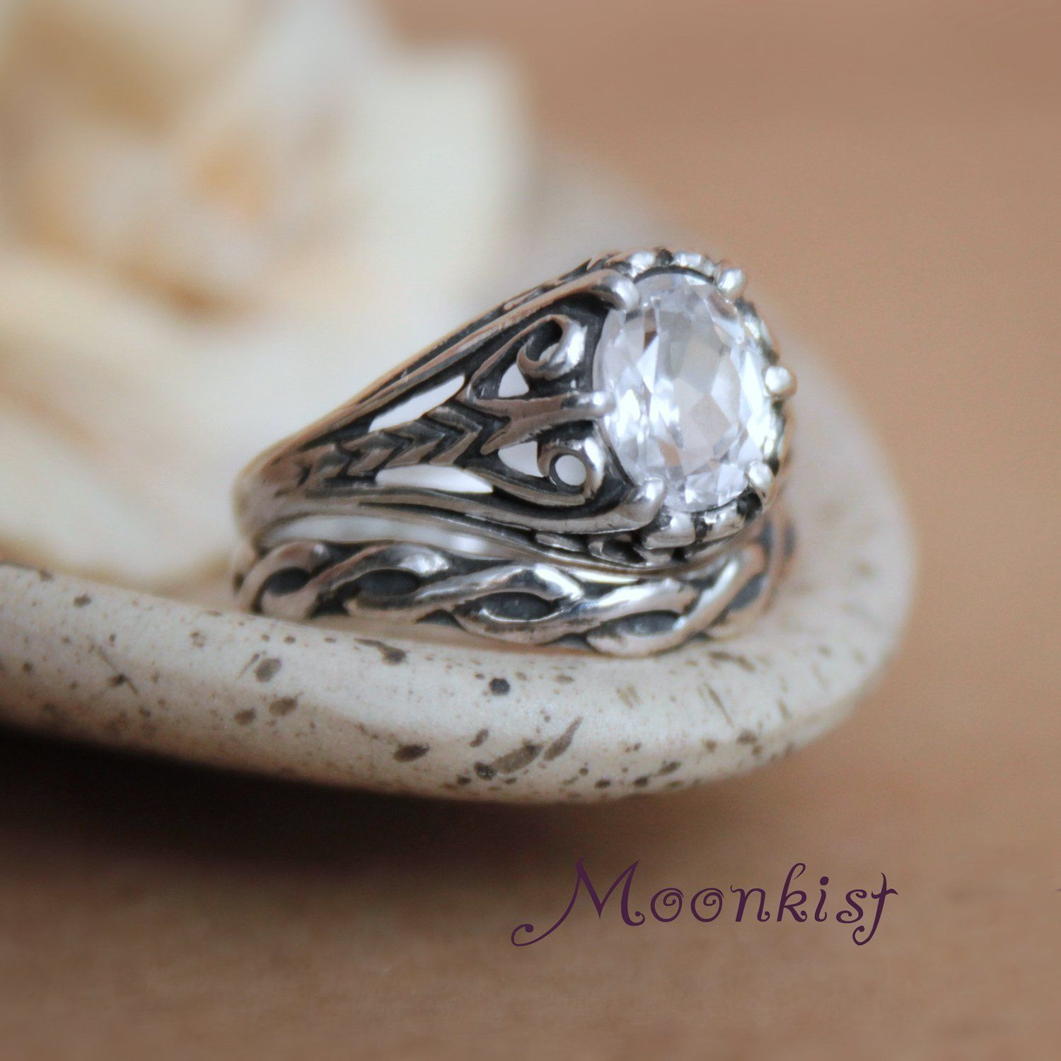 White Sapphire Victorian Silver Filigree Engagement Ring