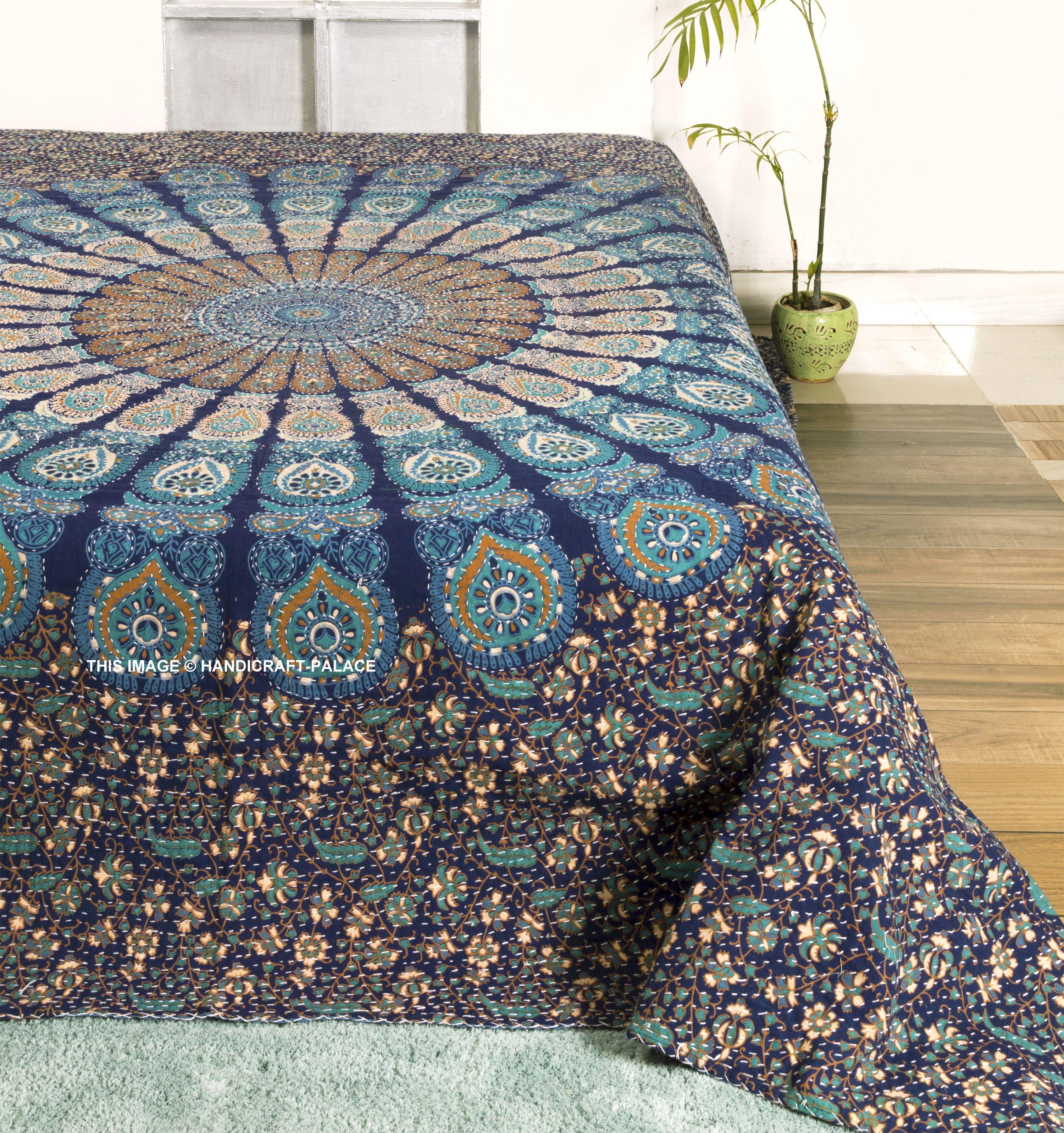 Artisan Hand-Stitched Handmade Kantha Quilt Floral Print Tie dye Queen Size Quilt Indian Handmade Bohemian Bedspread Cotton Floral Kantha