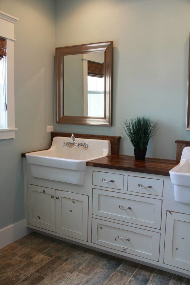 Farmhouse Sink Vanity Bathroom Craftsman With Basket Lights Board