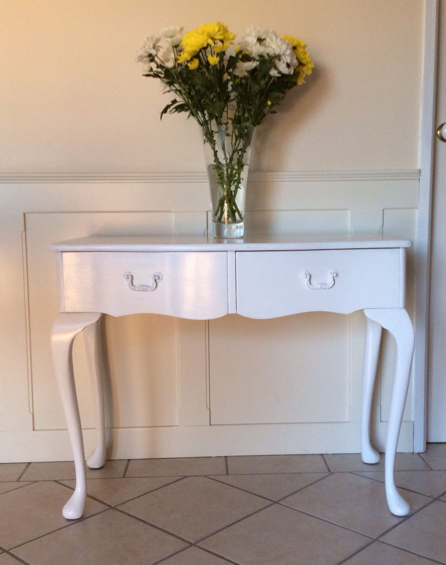 shabby chic vintage style white hall table. For