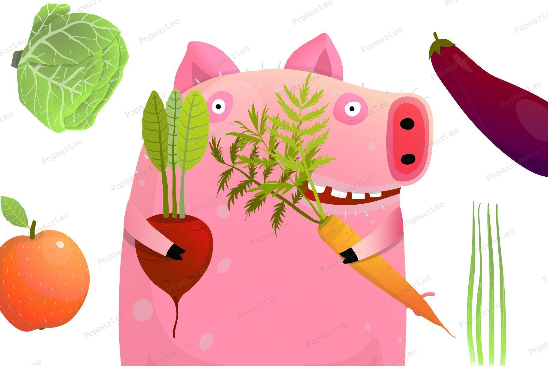 Cute Pig Eating Smart Vegetable Diet Vegetable Diet Pigs Eating Eat Smart