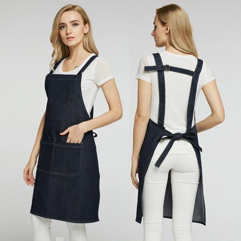 Simple denim Cotton Cowboy apron Shoulders Uniform,BBQ