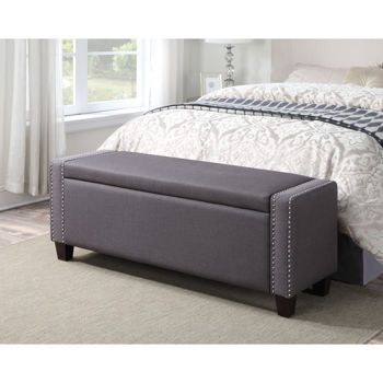 Marvelous Mirabella Storage Bench In Slate Grey