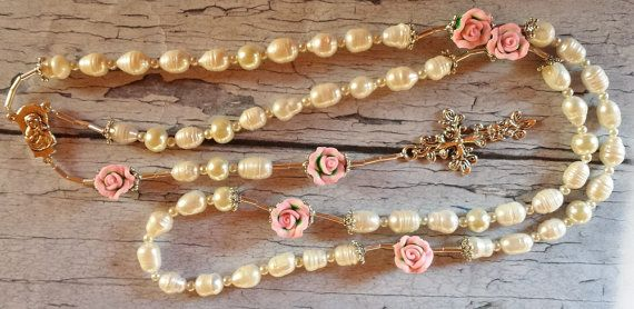 $77 Beautiful Bride, Traditional Rosary  Genuine Freshwater Pearls & Pink Polyclay Roses by BlueWorldTreasures.etsy.com Use #discountcode PIN10 for 10% off. #rosary #wedding #handmade