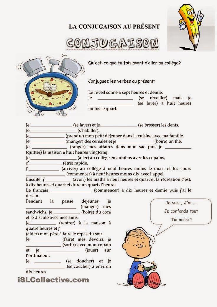 Grammaire la conjugaison au pr sent mon quotidien for En y frances ejercicios