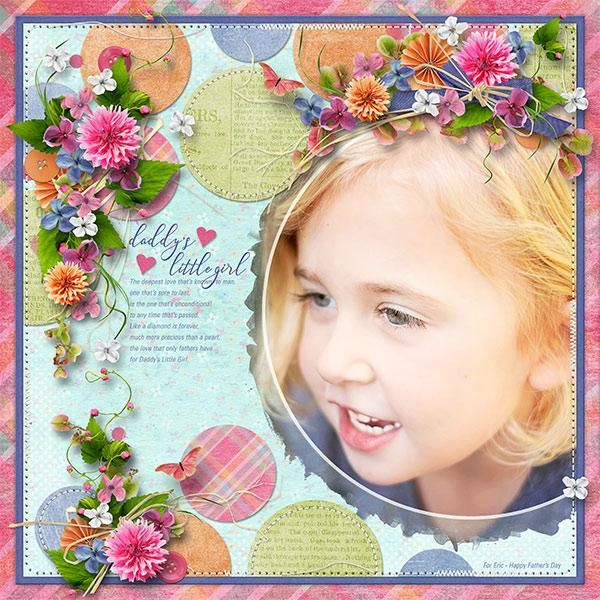 DADDY'S GIRL - Template: Circles of Love #7 by Heartstrings Scrap Art https://www.digitalscrapbookingstudio.com/digital-art/templates/circles-of-love-7/  Kit: Summer News Paper by Vero the French Touch https://www.digitalscrapbookingstudio.com/digital-art/bundled-deals/summer-news-paper-mega-collection/