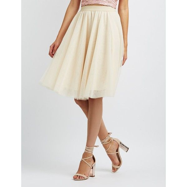 f5f1505bc3 Charlotte Russe Tulle Full Midi Skirt ($27) ❤ liked on Polyvore featuring  skirts, ivory, high waisted tulle skirt, knee length tulle skirt, tulle  skirts, ...