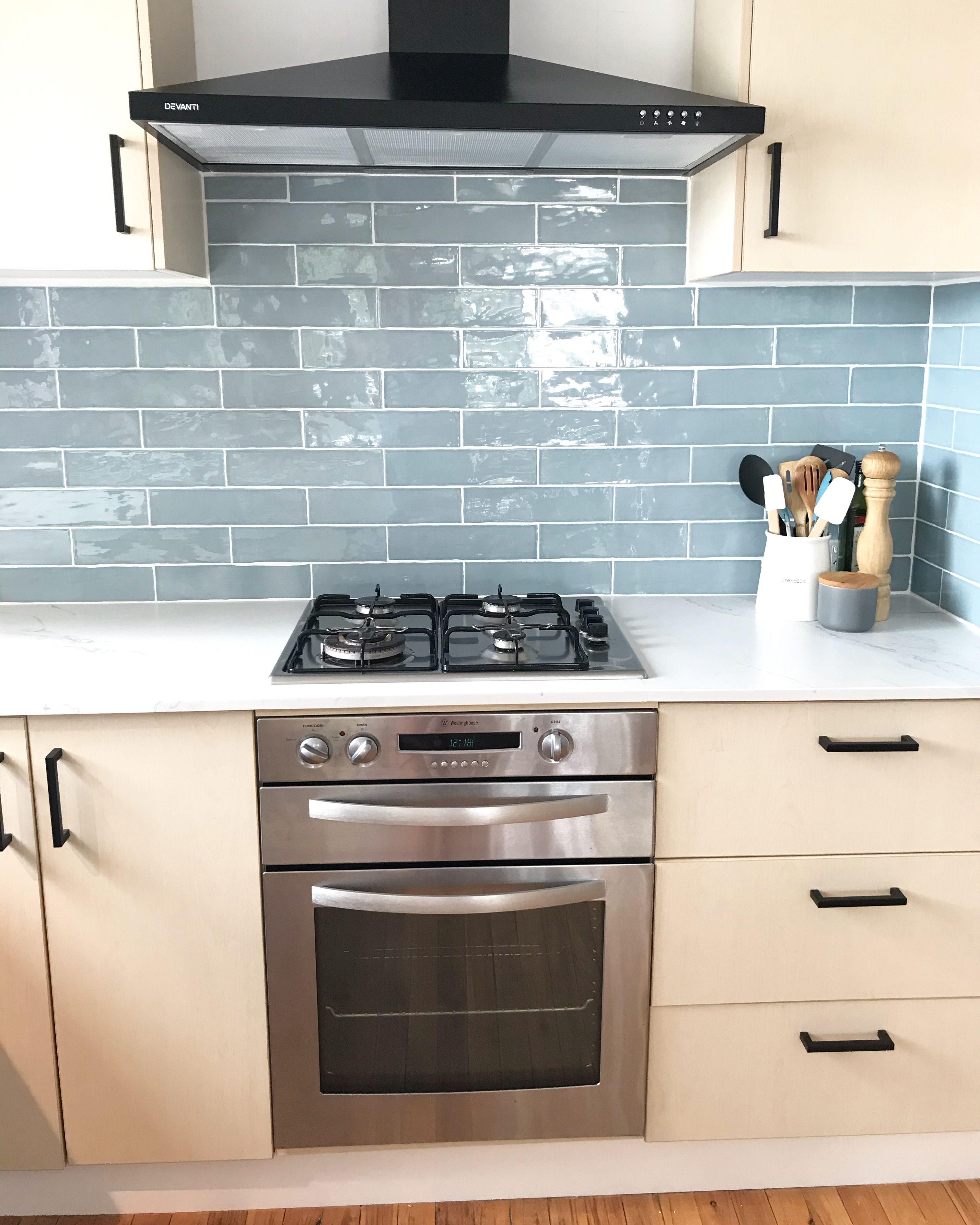 blue subway tile kitchen renovation