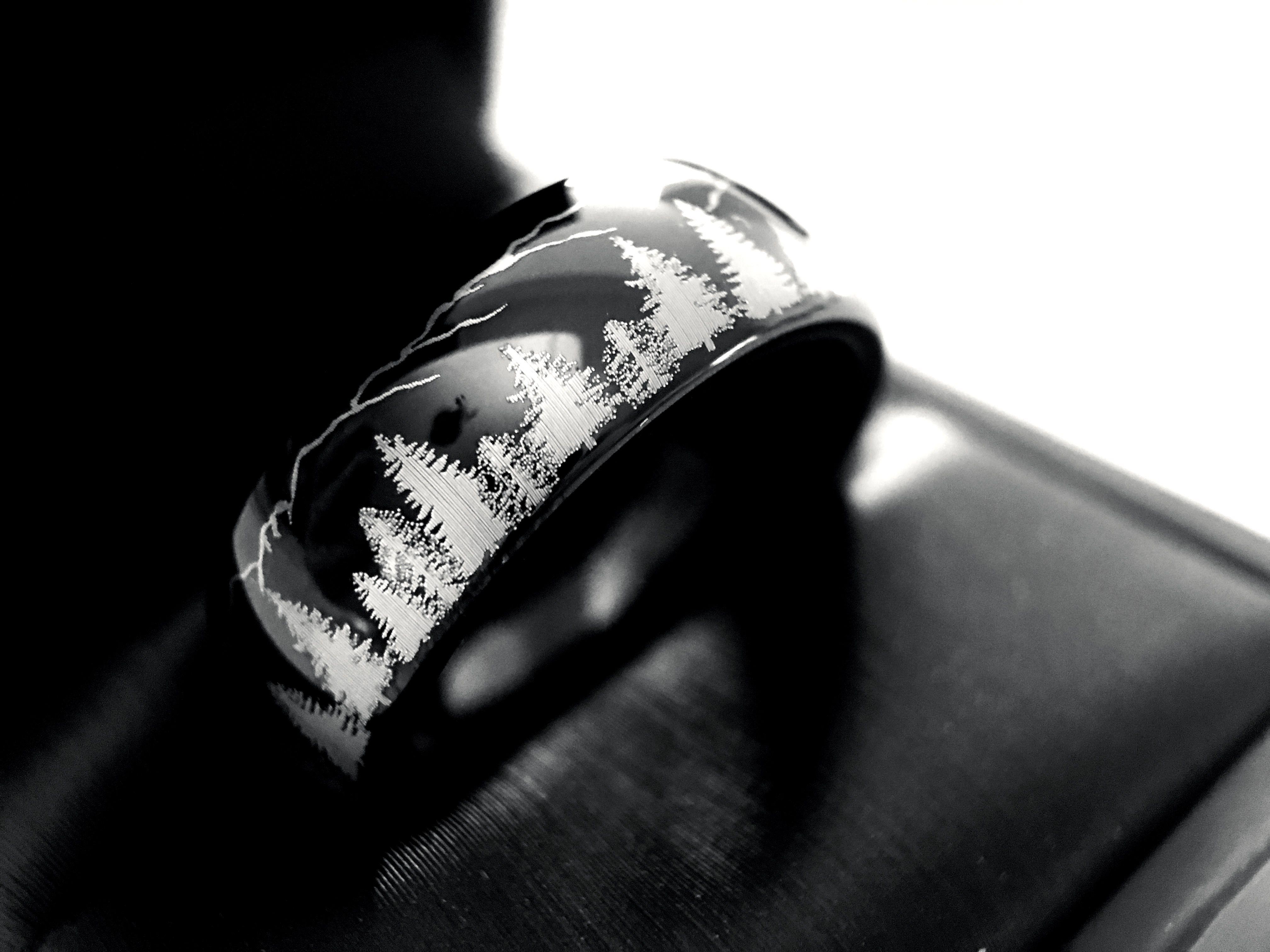 Black Tungsten Ring, Fir Trees & Mountains Range Ring