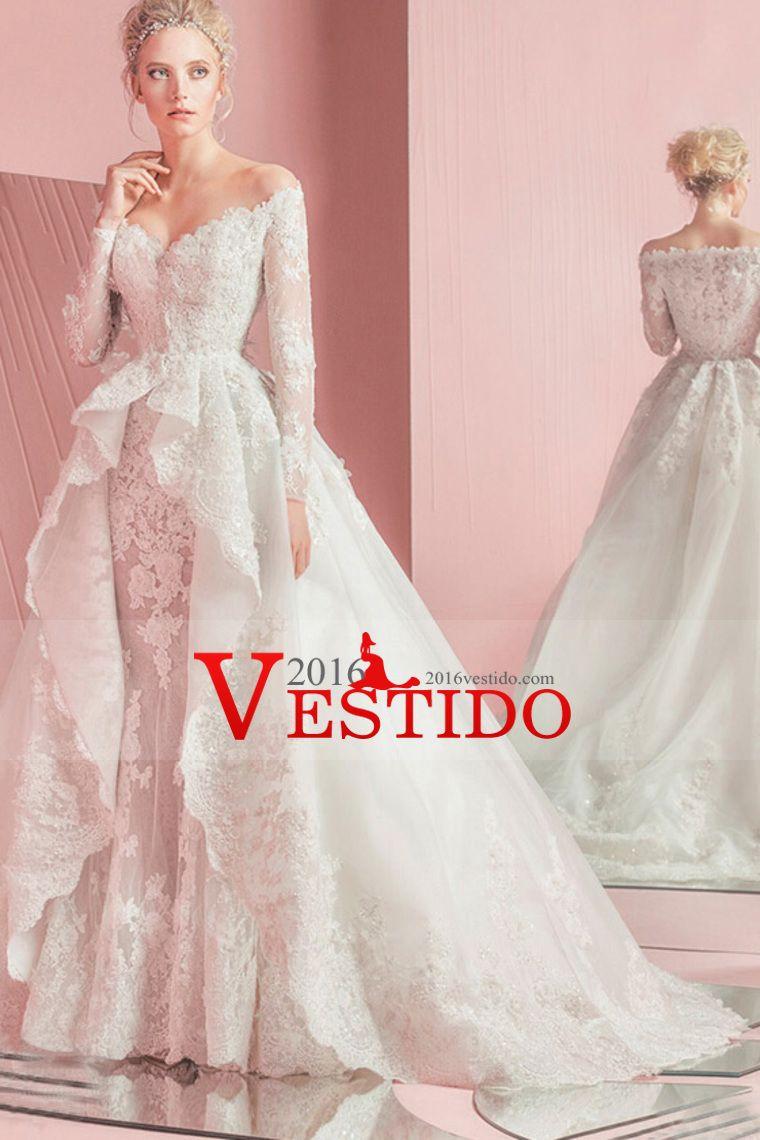2017 nuevos vestidos de boda de sirena de la llegada de manga larga ...