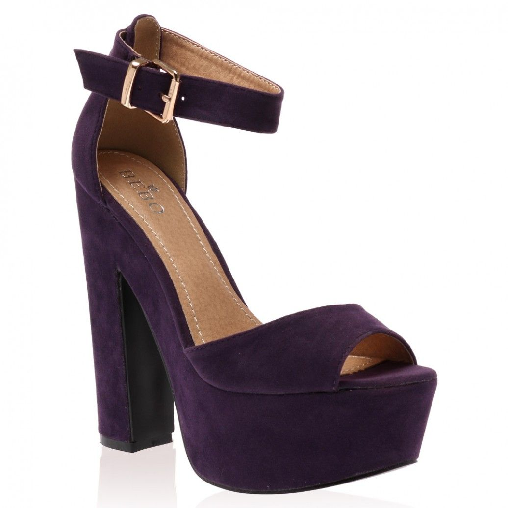 public desire Brandi Purple Faux Suede Platform High Heel Sandals ...