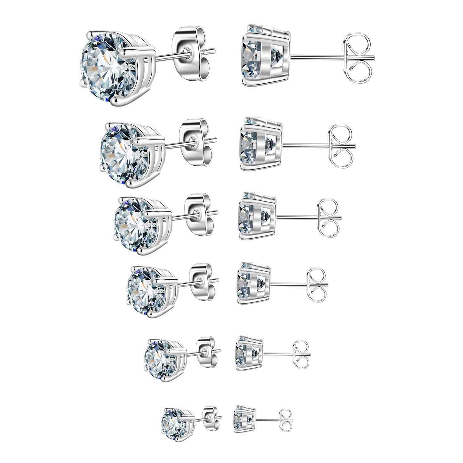 ddd3dca7a Outop Stud Earrings for Women Round Cubic Zirconia Stainless Steel Earrings  Studs Plated White Gold, 3-8mm (6 Pairs)