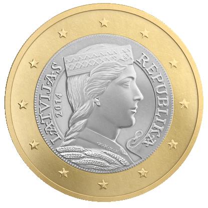 Latvian 1 euro coin design  Folk-maiden on national side of