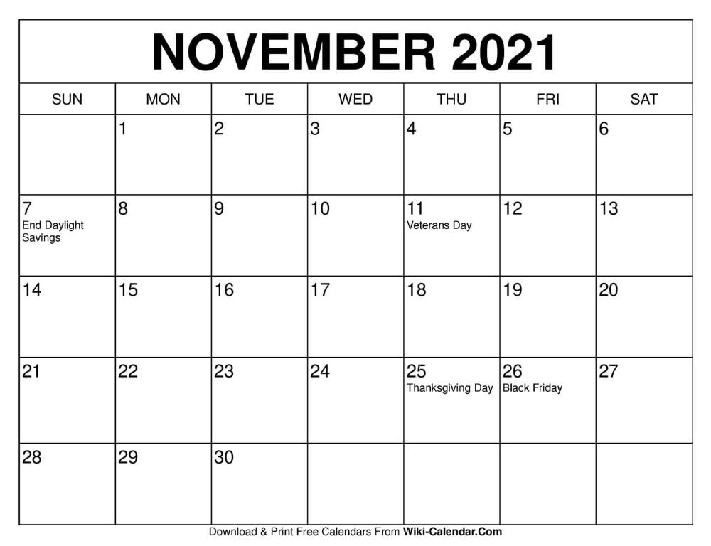 November 2021 Calendar February Calendar 2021 Calendar Monthly Calendar