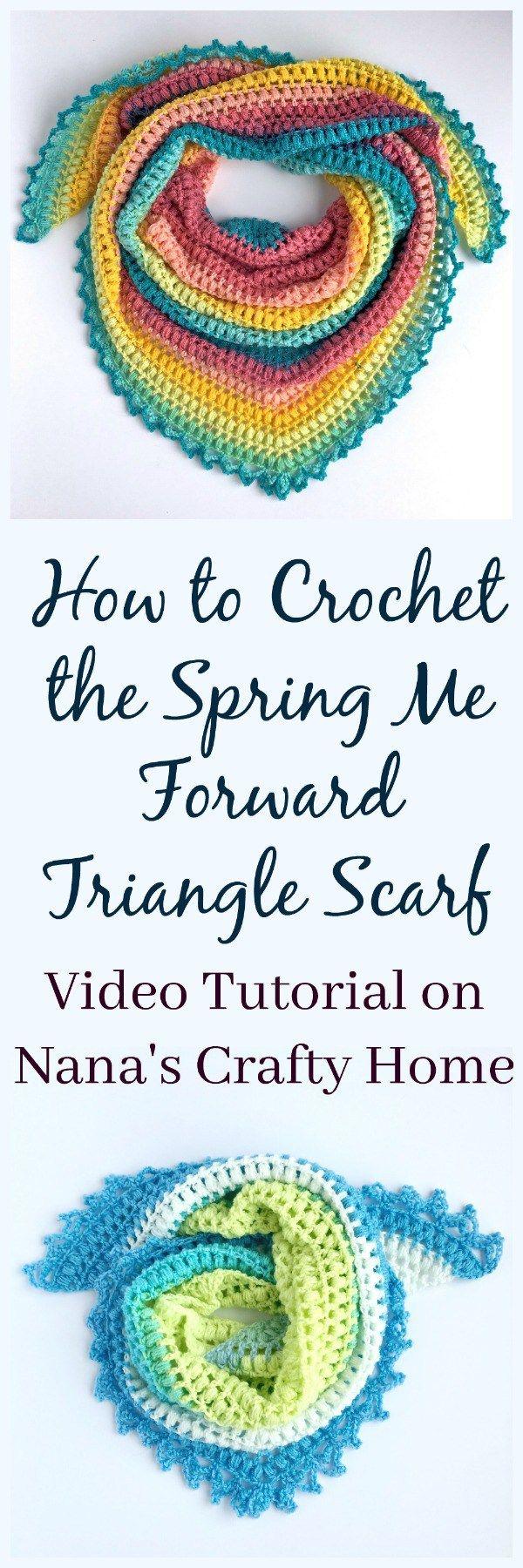 Spring Me Forward Triangle Scarf Free Crochet Pattern Video Tutorial