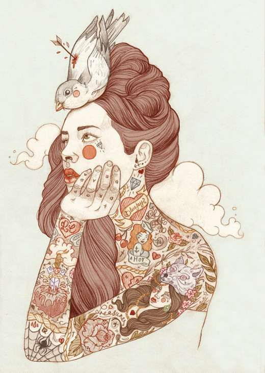 Tattooed Vixen Visuals  Liz Clements Renders Ethereal Women with Extreme Body Art