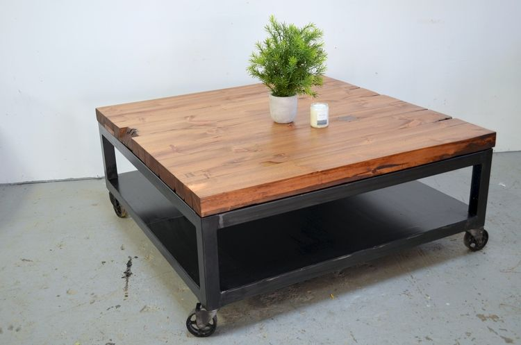 Junction Wood + Metal Co. RECLAIMED BEAM CASTER TABLE