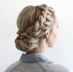 Half updo with Dutch braids