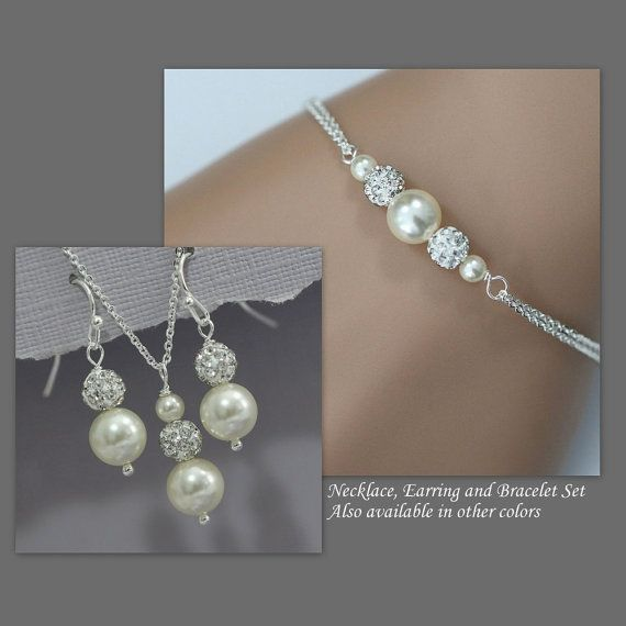 Choose Your Colors Swarovski Ivory Pearl Necklace Earring And Bracelet Set In Sterling Silver Setting
