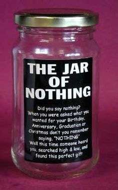Jar of Nothing: the perfect present for the picky prick in ...