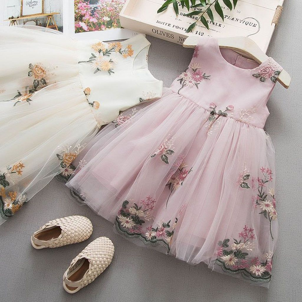 US $10.98 20% OFF|Girls Dress 2019 summer Baby Girls Clothes Flowers Tulle princess Party Dress Girls Casual Dress Kids Dresses For Girls clothes|Dresses| | - AliExpress