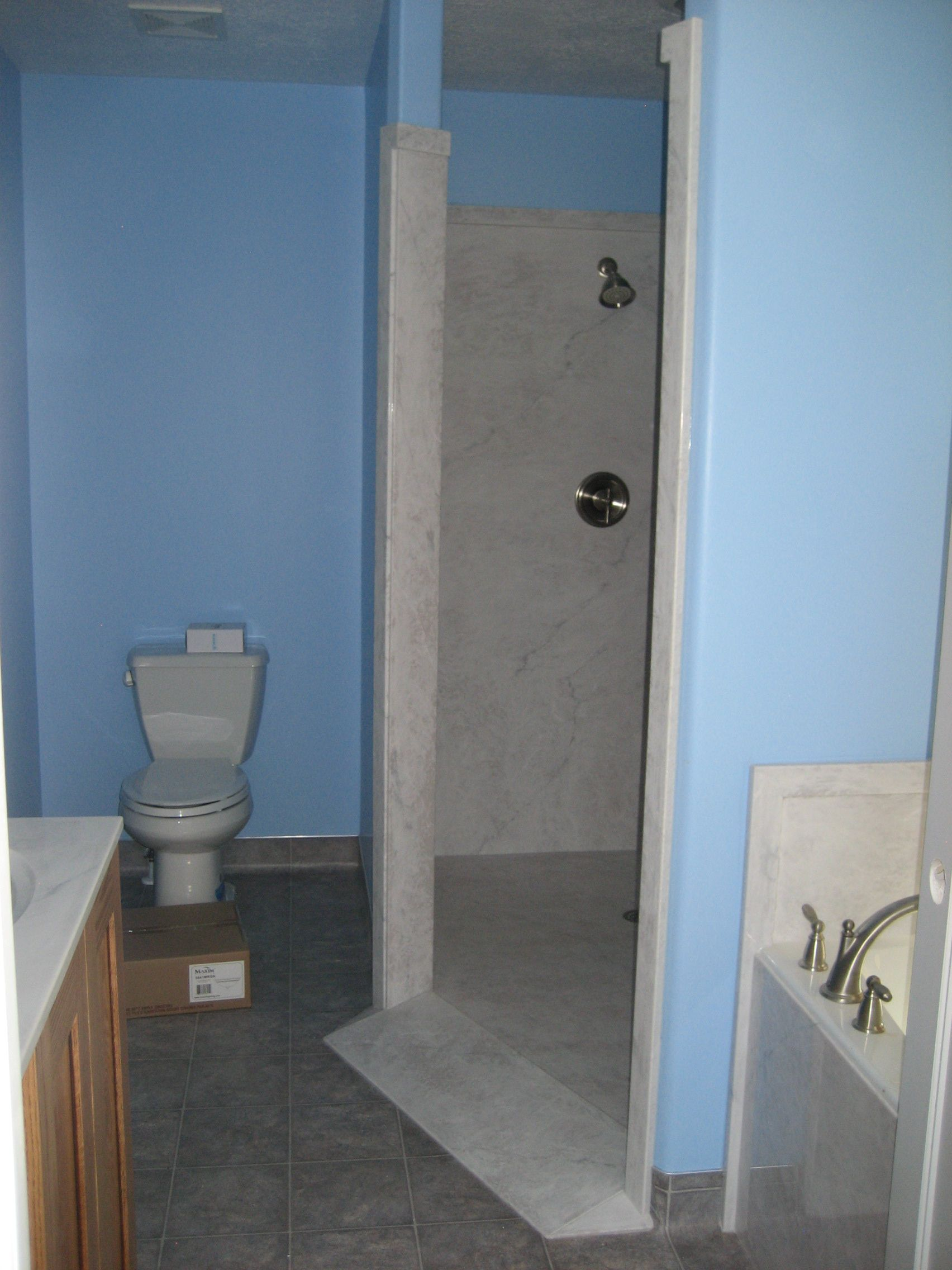 Custom wheelchair accessible shower in Realistic marble sterling ...