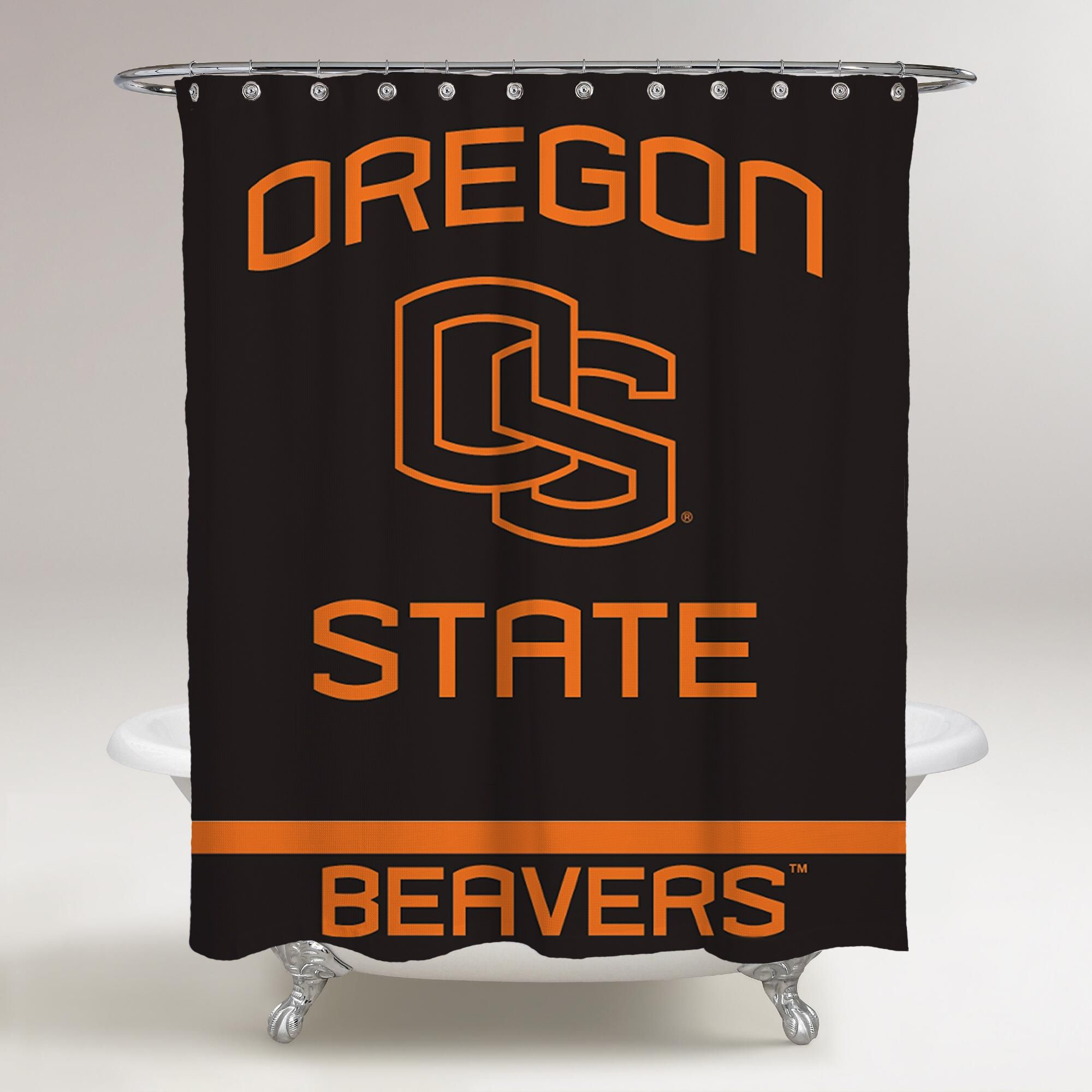Oregon State Beavers Logo Wallpaper Black Background Printed Shower Curtain Bathroom De Bathroom Wallpaper Personalized Shower Curtain Bathroom Shower Curtains