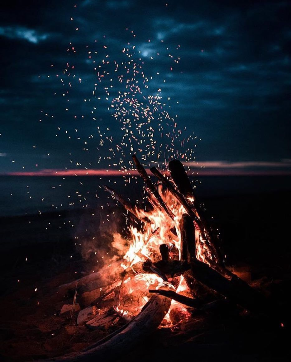 Summer Night Bonfire On The Beach Nature Photography Beautiful Photography Camping Photo