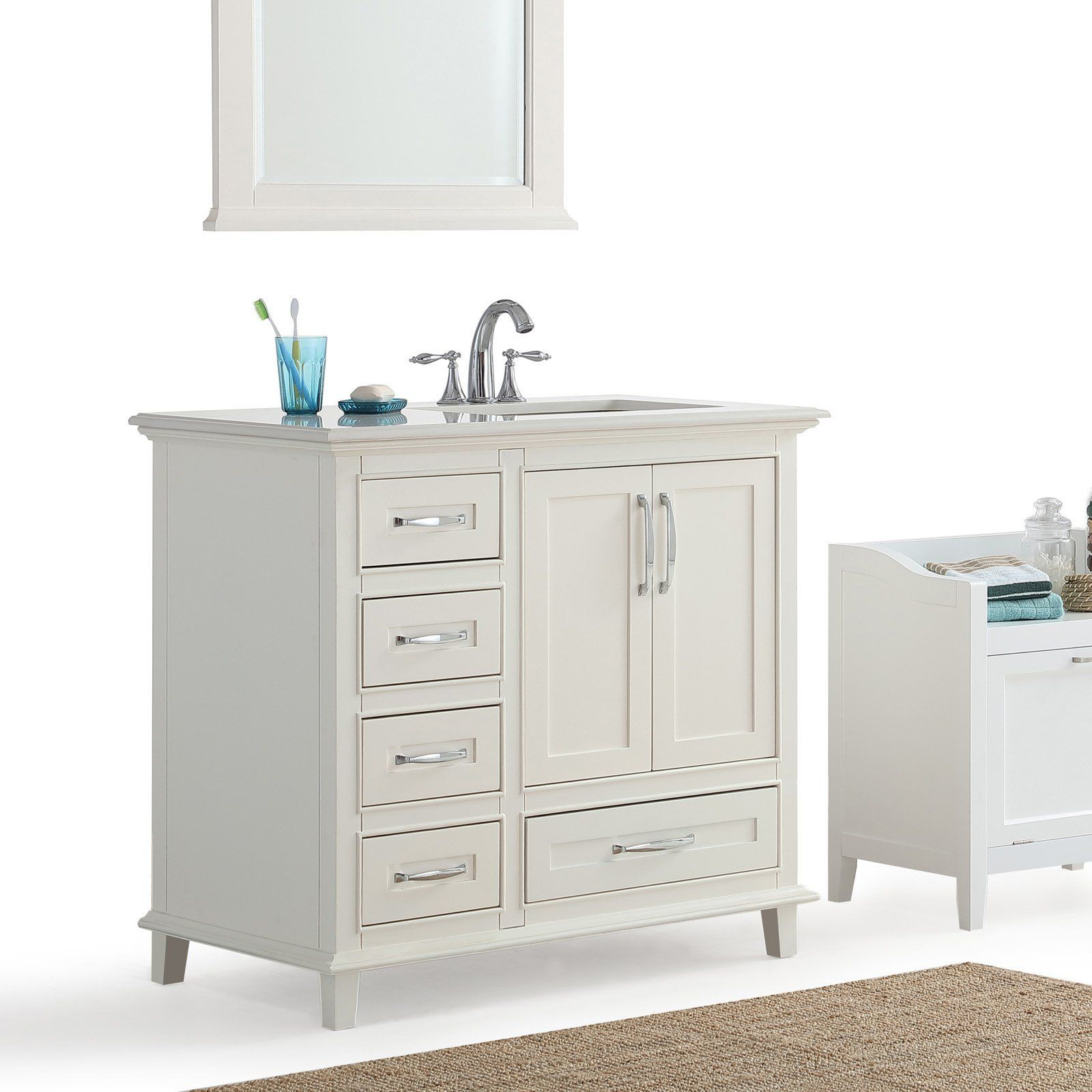 Simpli Home Ariana 36 In Bath Vanity With Right Offset Sink Axcvarw 36r
