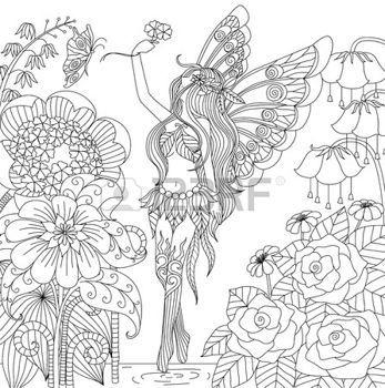 zentangle Dibujado a mano de hadas de vuelo en tierra de flores