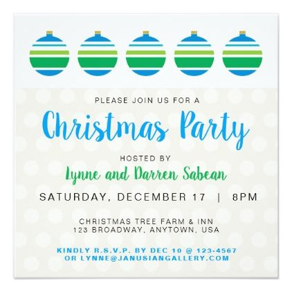 Blue And Green Christmas Ball Party Invitation  Invitations