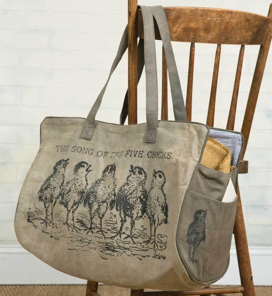 4c9ec83b0990 Details about Farmer's Market Canvas Weekender Chicks Tote Bag ...