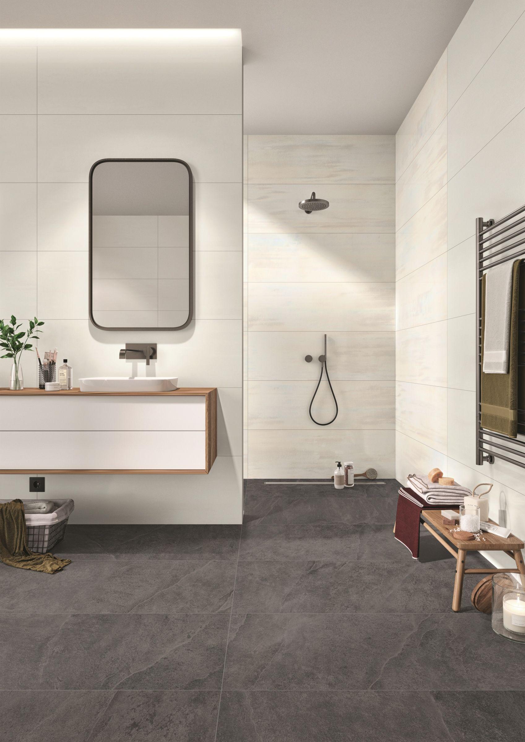 Ein Individueller Bildschoner Kontrast Im Badezimmer Formvollendet Bildschon Wunderschon Bathroom Badezimer Ba Badezimmer Bodenfliesen Bad Raumgestaltung