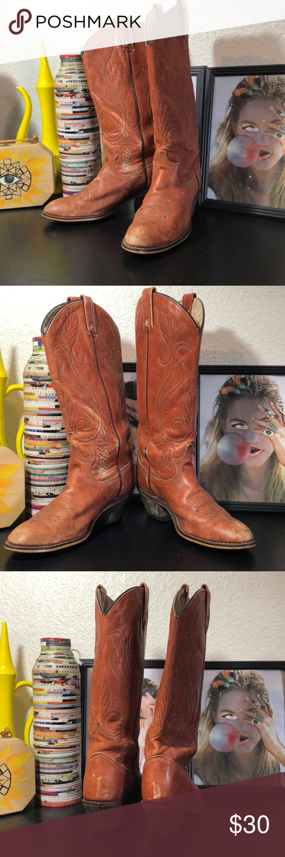 3f926e0e918 Vintage cowboy boots Awesome camel color boots Size 7.5 equals 9-9.5 ...