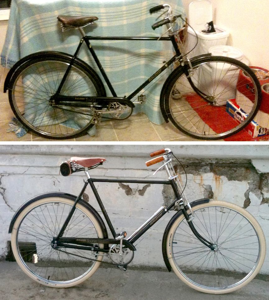 1976 Raleigh Tourist Before And After Vintage Racing Bike Bicycle Bicycle Rims