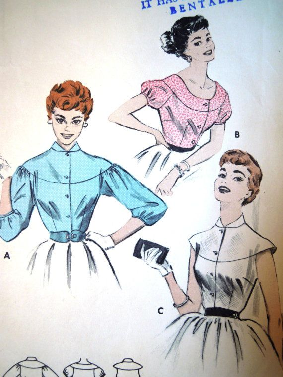Vintage 1950s Butterick 7162 Cape Yoked Blouse Sewing Pattern B 34 ...