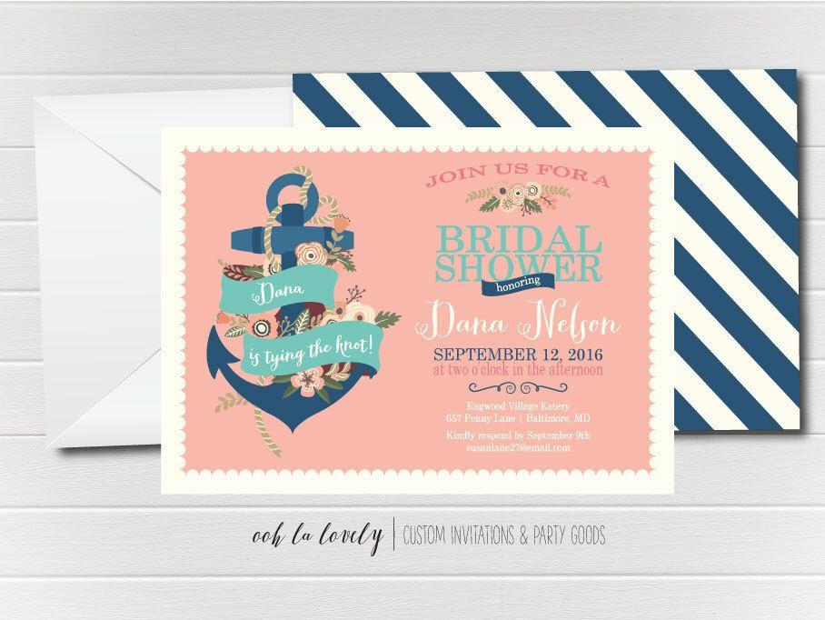 Nautical Bridal Shower Invitation, Nautical Baby Shower Invitation ...