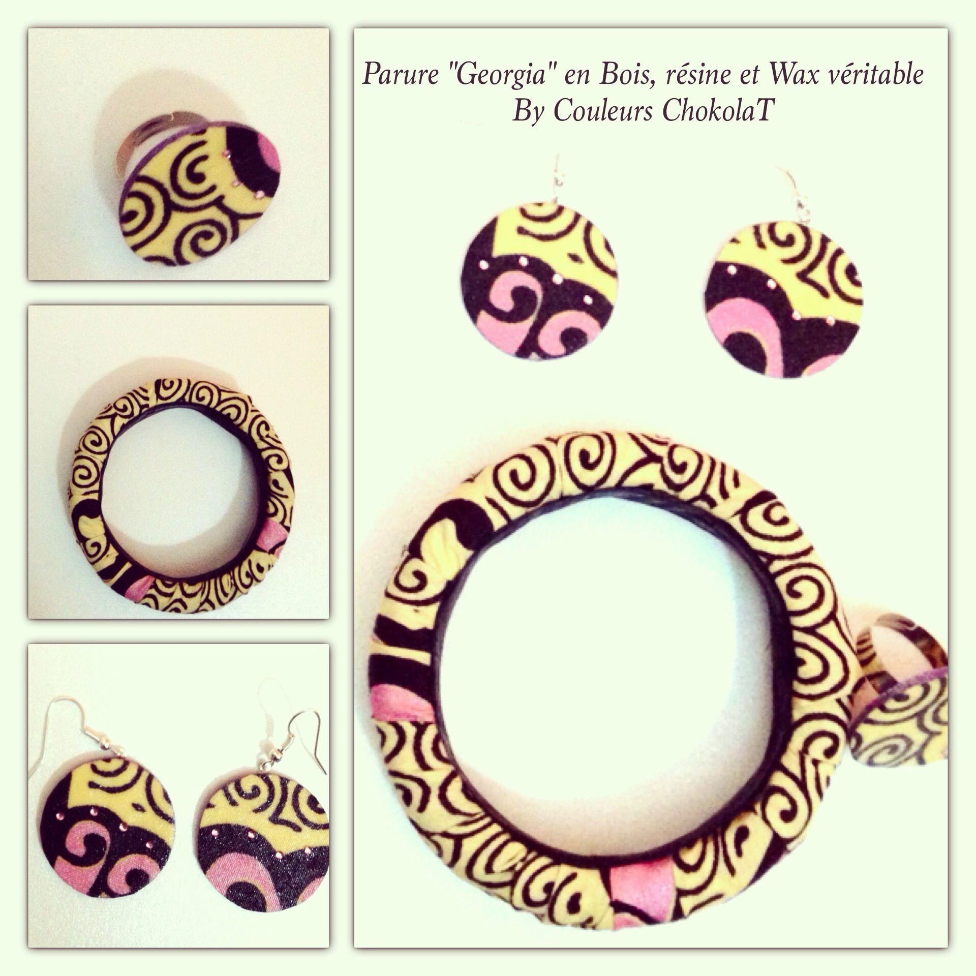 Parure en wax  www.couleurschokolat.com #pagne, #bijoux, #tissuafricain, #waxfabricjewellery, #wax, #bijouxenpagne, #handmadejewellery, #bijouxfaitmain