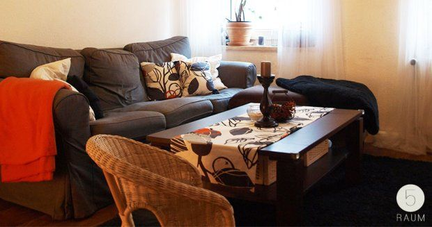 orange, grau, schwarz, weiß, wohnzimmerdeko, wohnzimmer, ektorp - wohnzimmer grau orange