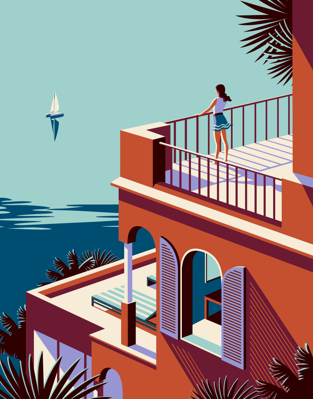 """Illustrations for Kuoni by Malika Favre """"Series of travel illustrations for Kuoni France 2016 brochure, art direction by Altavia."""" Malika Favre is a French artist based in London. Her bold, minimal style – often described as Pop Art meets OpArt – is..."""